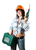 Girl with drill over white background — Stock Photo