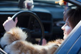 Female driver in her car — Foto Stock