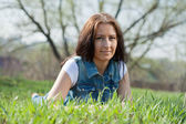 Middle ages woman at meadow — Stock Photo