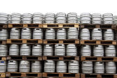 Beer kegs over white — Stock Photo