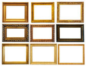 Set of horizontally gold frames — Stock Photo