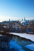 Vladimir downtown from river side in winter — Stock Photo