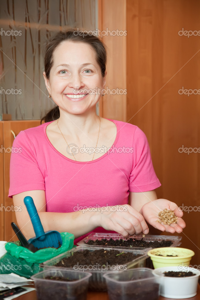 Female gardener sows sprouts at her  home — Stock Photo #9912411