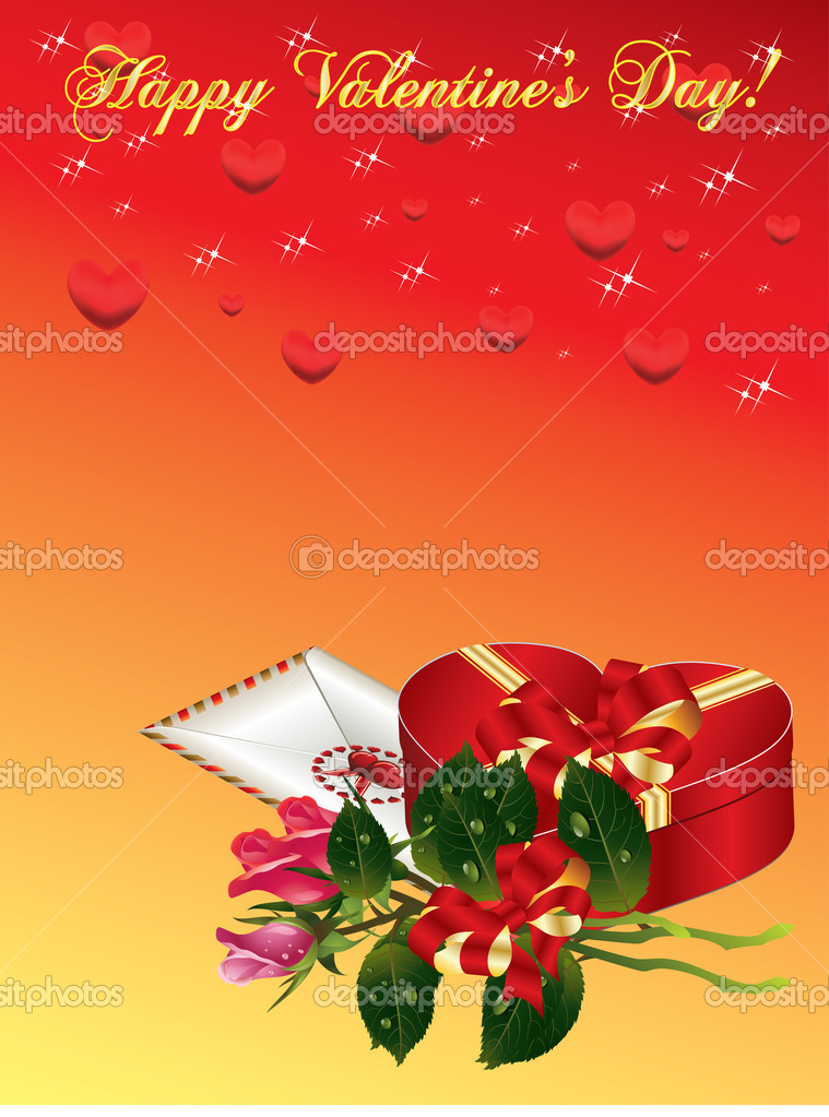Valentines Day background with bucket roses, envelope and gift box  Stock Vector #8375431