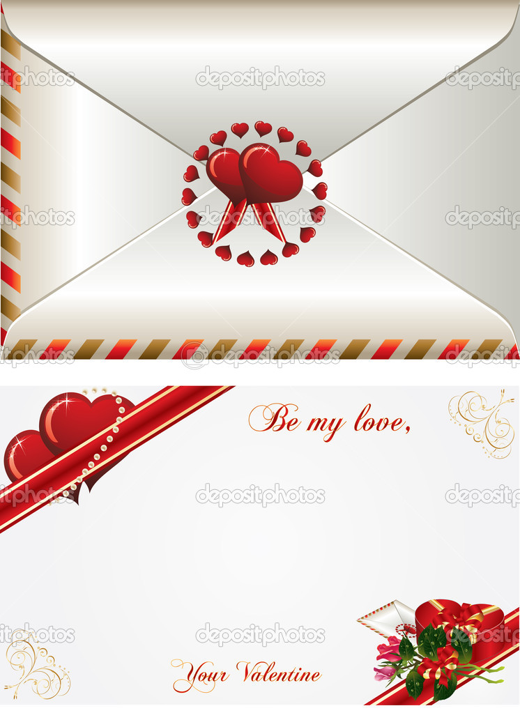 Valentines Day background with bucket roses, envelope and gift box  Stockvectorbeeld #8378175