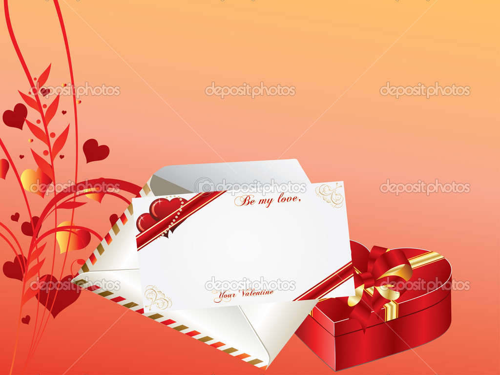 Valentines Day background with envelope, card and gift box — Imagen vectorial #8443548