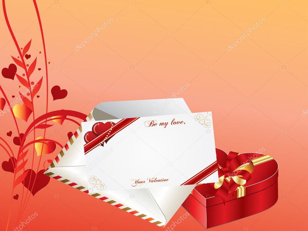 Valentines Day background with envelope, card and gift box — Stock Vector #8443548