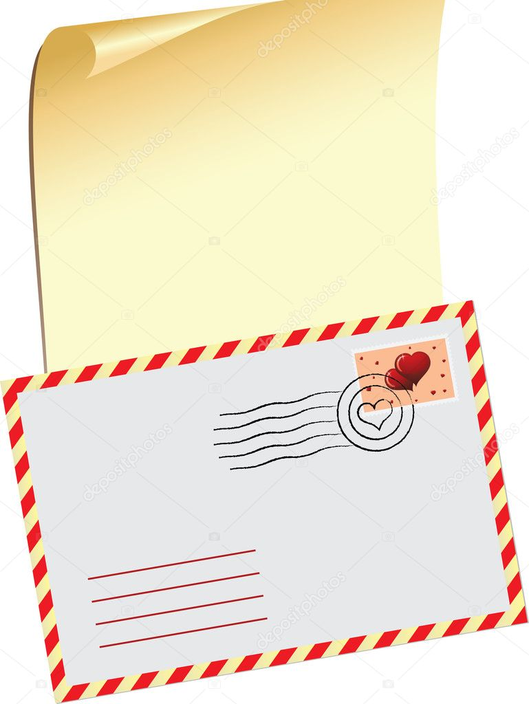 Vector illustration with a message on Valentine's Day and a festive envelope.  Stock Vector #8496150