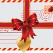 Vector de stock : Valentines Day gift with envelope