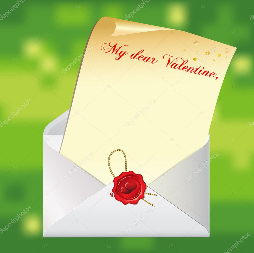 Valentine's day background with letter and envelope with valentine stamp. EPS8 — Imagen vectorial #8859355