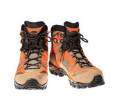 Hiking boots on the white background — Stok fotoğraf