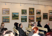 Opening of the exhibition of the artist Anatoliy Dereza — Stock Photo
