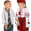 Little boy and little girl on the white background — Stock Photo