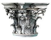Silver Corinthian order columns on the white background — Stock Photo