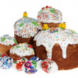 Stock Photo: RussiEaster cake and colourful easter eggs isolated