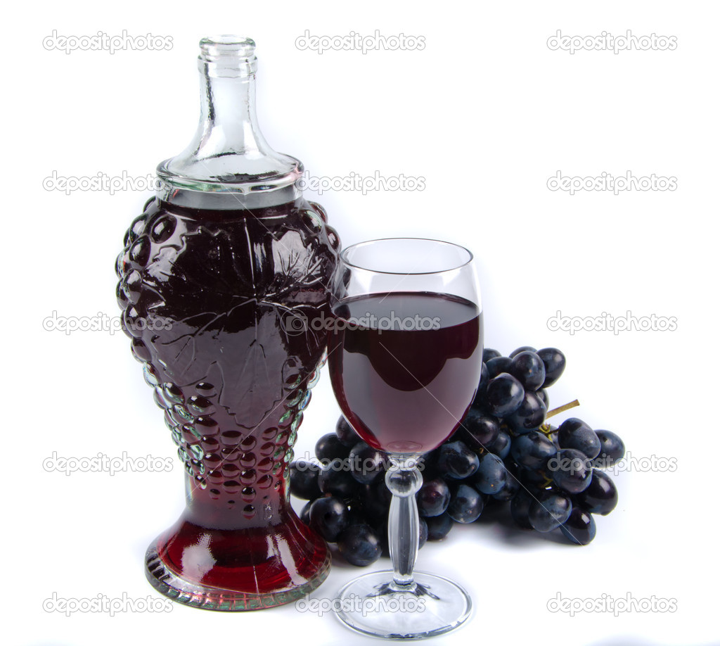 Old bottle and glass with wine on white background  Stock Photo #8138252