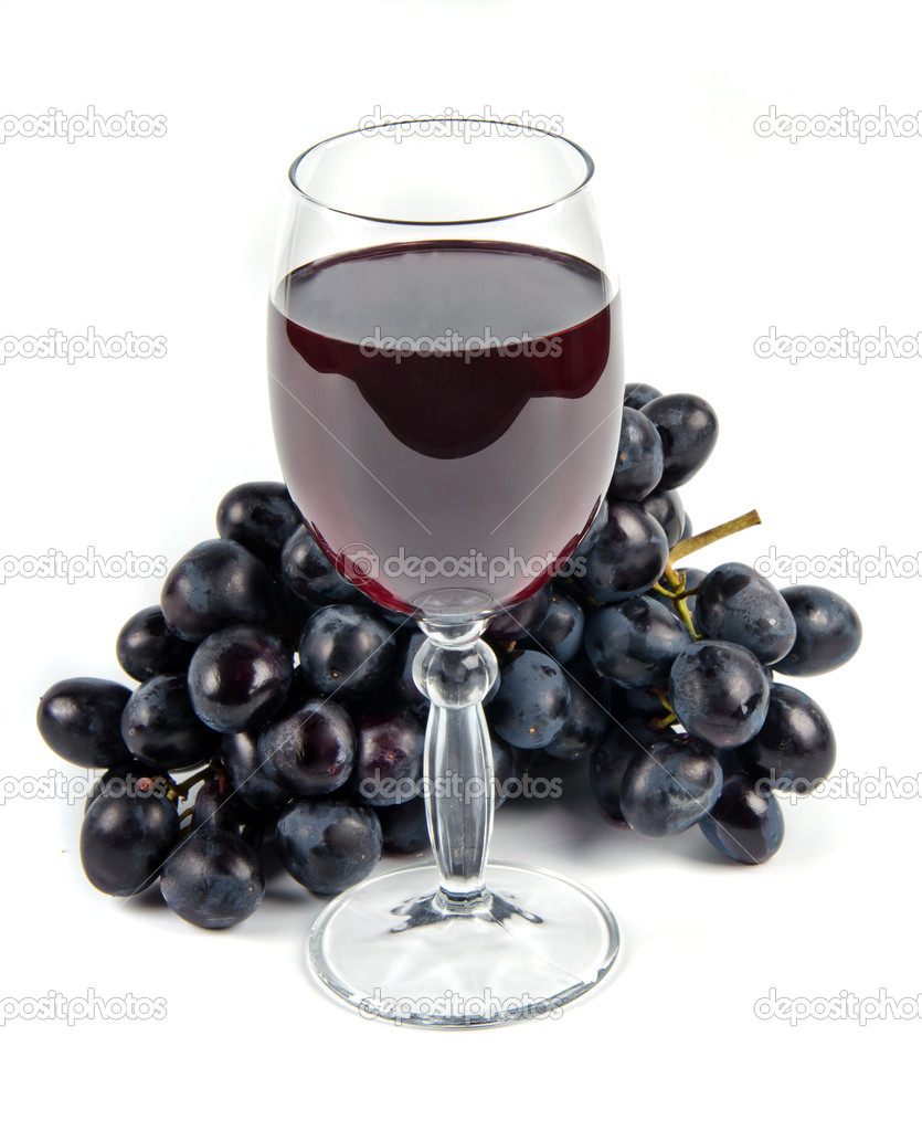 Glass with wine and fruit on white background — Stock Photo #8138277