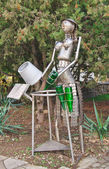 Joke as metallic robot — Stock Photo