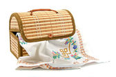 Handmade embroidery in box — Stock Photo