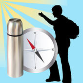 Thermos and compass — Stock Photo