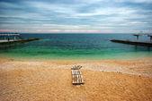 Spiaggia nel tempo noioso — Foto Stock