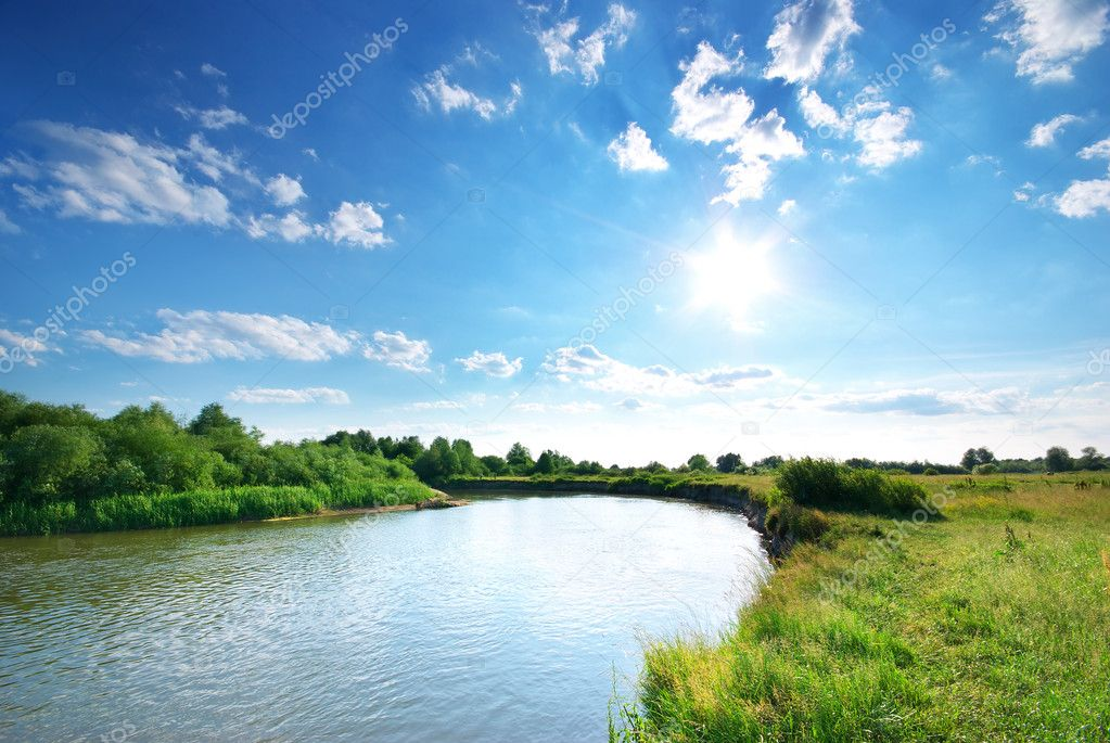 Summer river. Composition of nature. — Stock fotografie #9839486