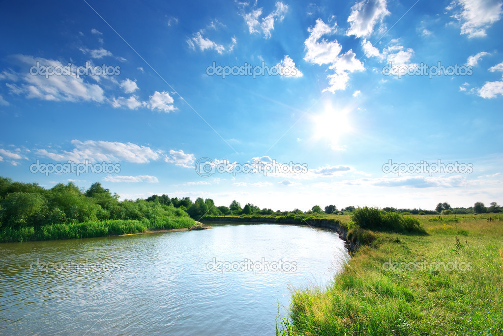 Summer river. Composition of nature. — Stockfoto #9839486