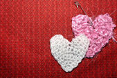 Two heart knitted — Stock Photo