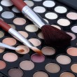 Make-up brush and powder eye shadows — Stock Photo