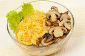 Braised kale with fried mushrooms — Stock Photo