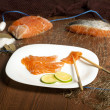 Still Life with Salmon Norwegian — Stock Photo
