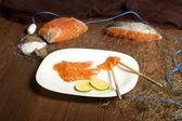Still Life with Salmon Norwegian — Stock Photo