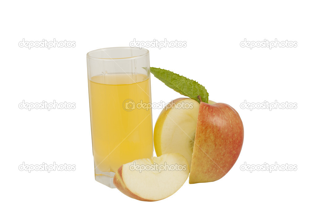 Beautiful apple and a glass of clarified apple juice  Stock Photo #9151519