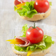 Sandwiches with  ham, lettuce and tomato — Stock Photo