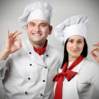 Two beautiful young chef — Stock Photo