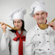 Two beautiful young chef — Stock Photo #10070549