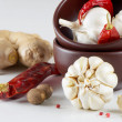 Stock Photo: Garlic and peppers