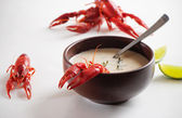 Soup with seafood — Stock Photo