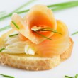 Snack with smoked salmon — Stock Photo #10479837
