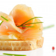 Snack with smoked salmon — Stock Photo #10479946
