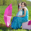 Happy mother and daughter outdoors — Stockfoto