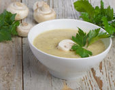 Mushroom soup with parsley — Stock Photo