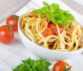 Italian pasta with vegetables — Stock Photo
