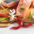 Stock Photo: Salmon steak with rice, vegetables and soy sauce
