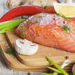 Fresh salmon steak with vegetables — Stock Photo