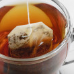Tebag in tea cup — Stock Photo
