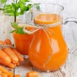 Healthy food - carrots and carrots juice — Stock Photo #8935070
