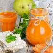 Stock Photo: Healthy food - carrots and carrots juice