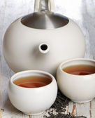 Two tea cup and teapot — Stock Photo