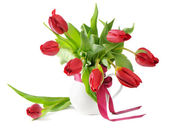 Bouquet of the fresh red tulips — Stock Photo